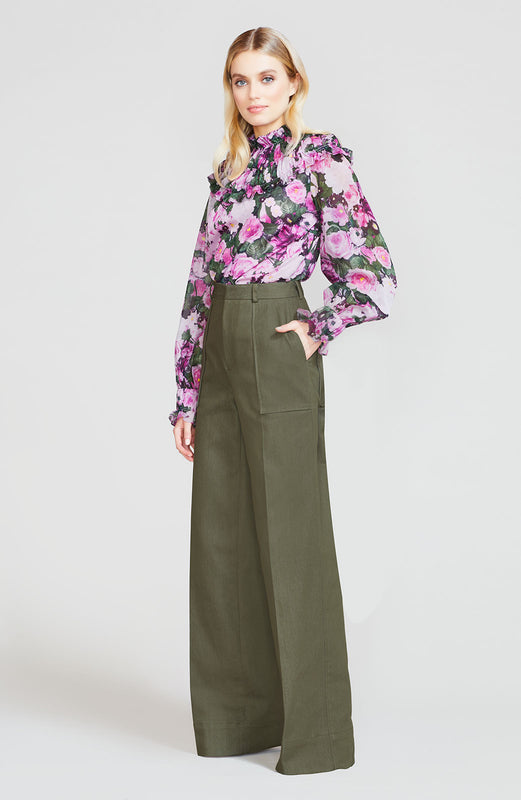 Stretch Denim Wide Leg Pant