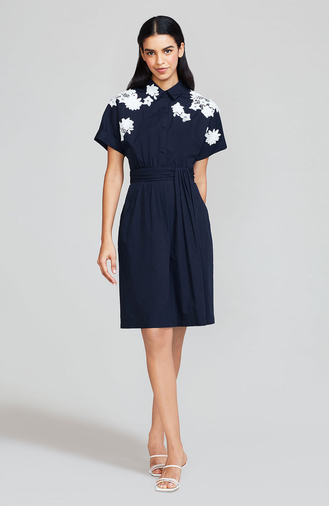 Cotton Poplin Shirt Dress with Floral Applique