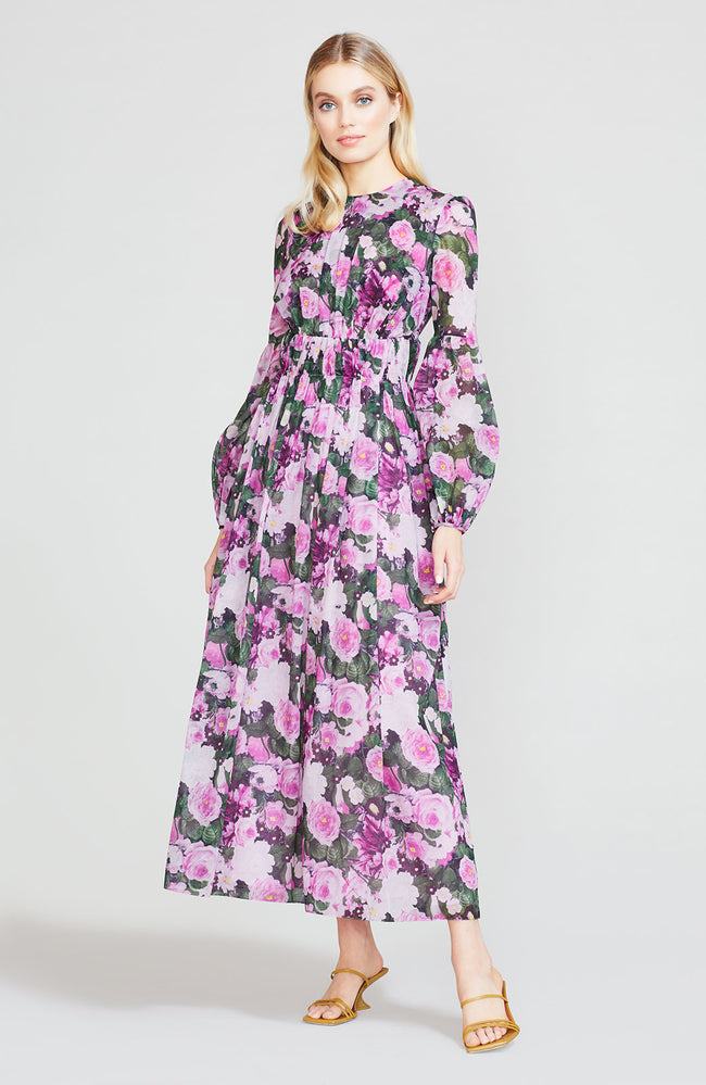 Floral Printed Voile Midi Dress with Ruched Waist