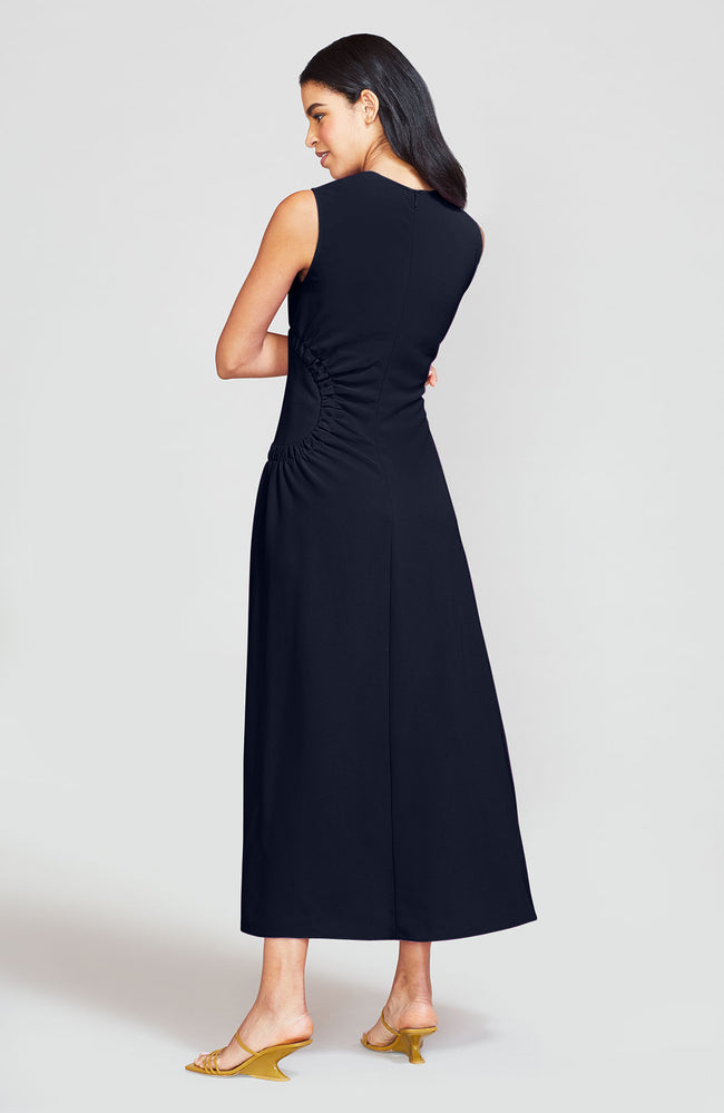 Fluid Crepe Asymmetrical Ruched Midi Dress