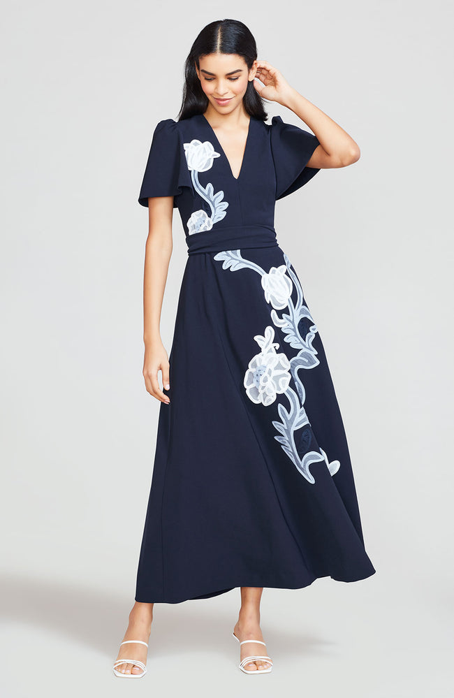 Floral Embroidered Fluid Crepe Flutter Sleeve Dress