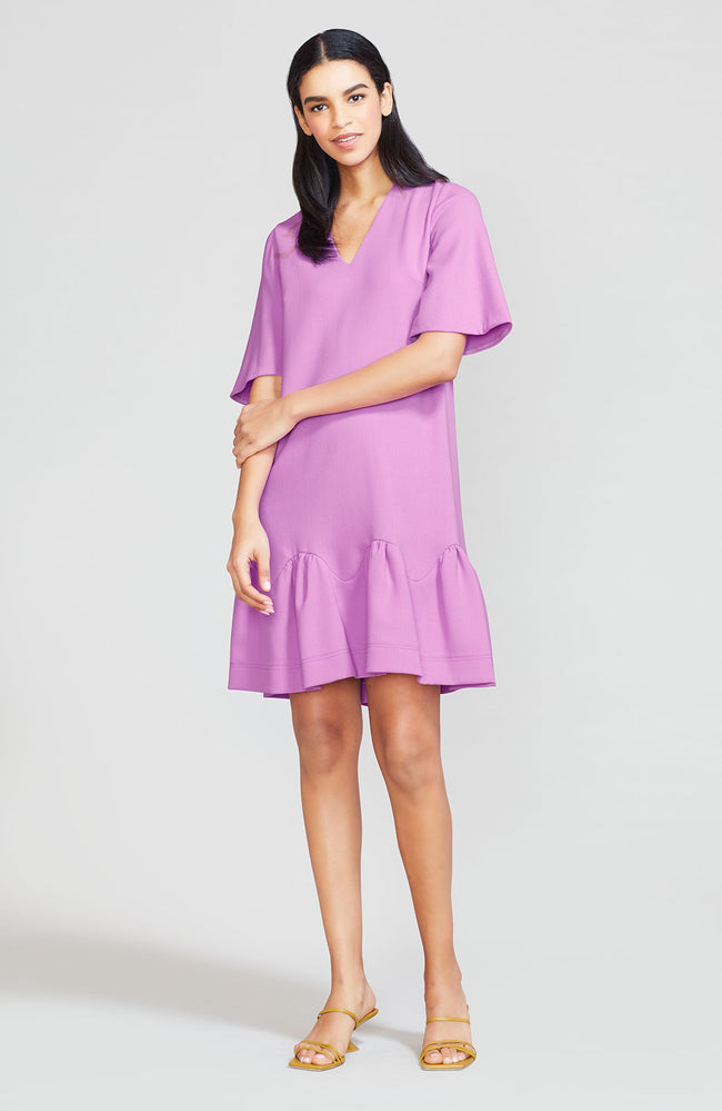 Wool Crepe Flounce Hem Tunic Dress