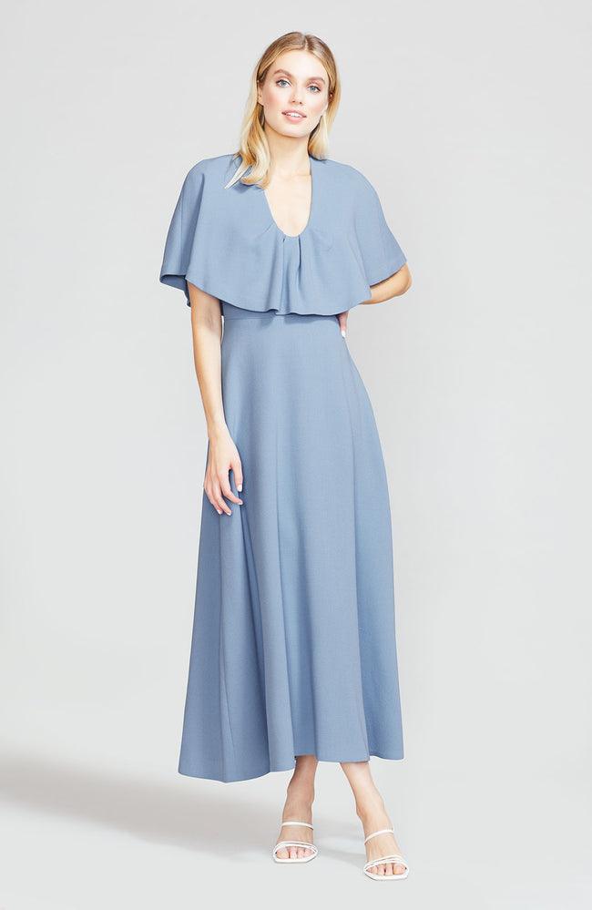 Wool Crepe Capelet Midi Dress
