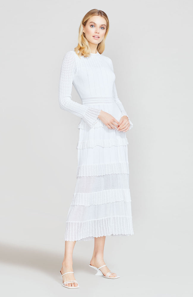 Ruffle Detail Knit Long Sleeve Midi Dress
