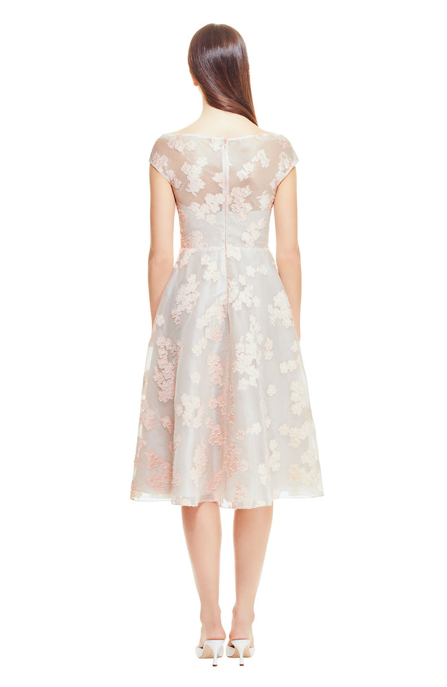 Organza Dotted Floral Fil Coupe Open Neck Full Skirt Dress