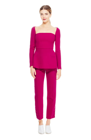 Wool Crêpe Button Placket Pant