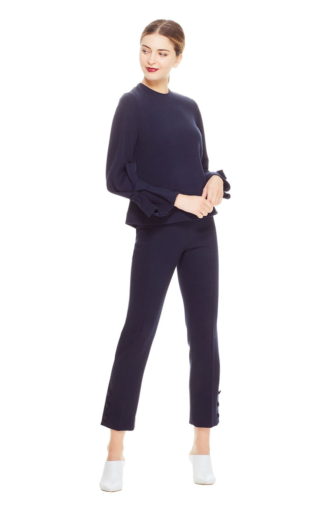 Wool Crepe Tie Sleeve Top