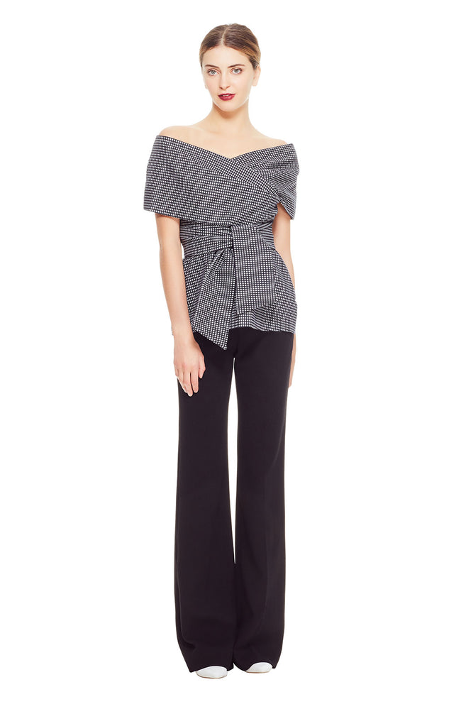 Stretch Check Jaquard Wrap Tie Peplum Top
