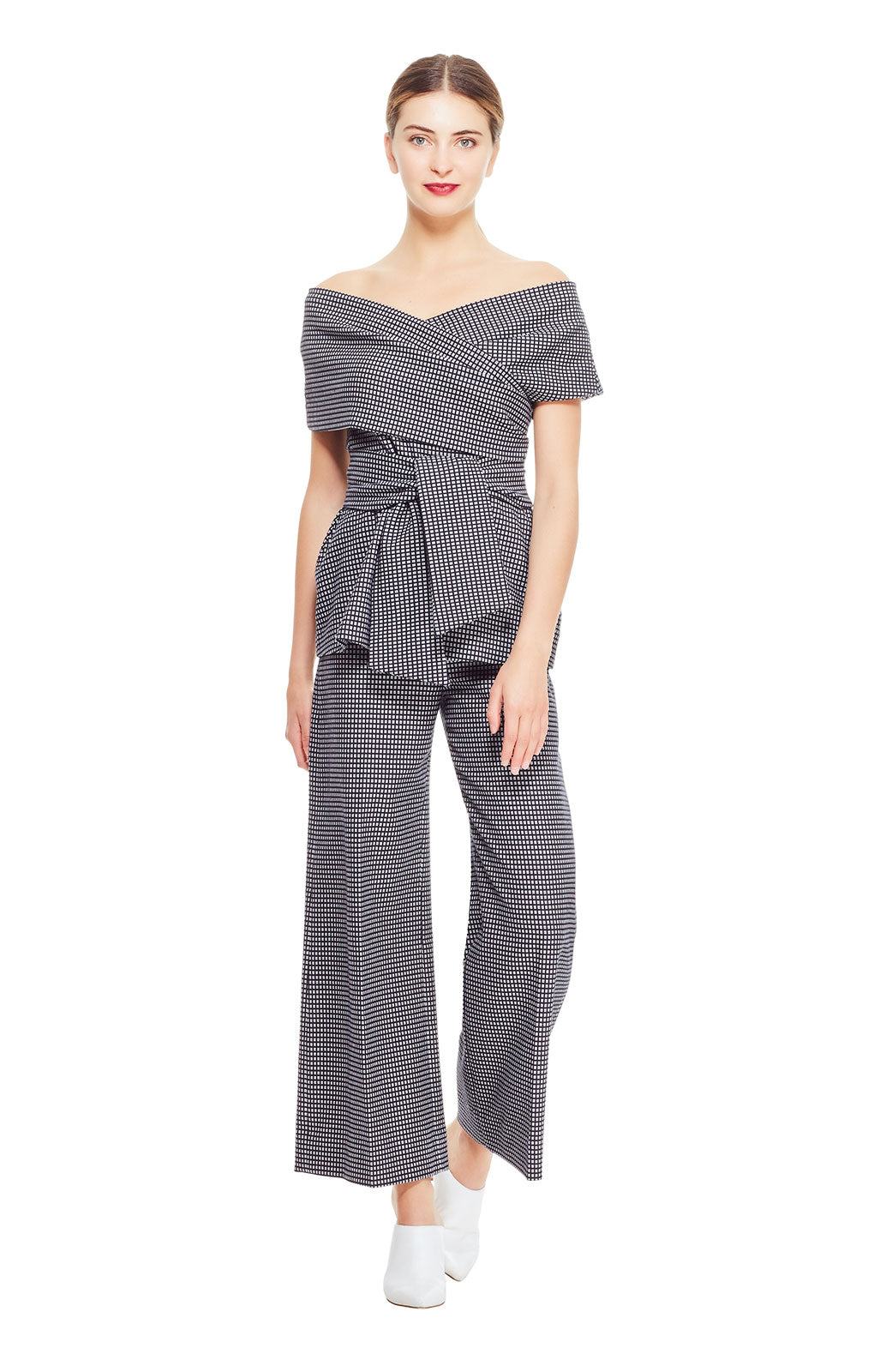 Stretch Check Jaquard Cropped Wide Leg Pant