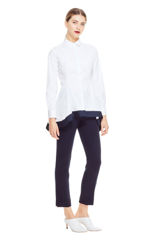 Cotton Poplin Flare Hem Shirt