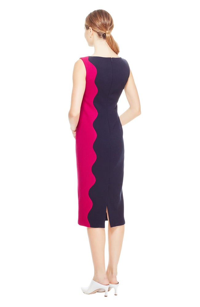 Wool Crepe Color Blocked Wave Sheath