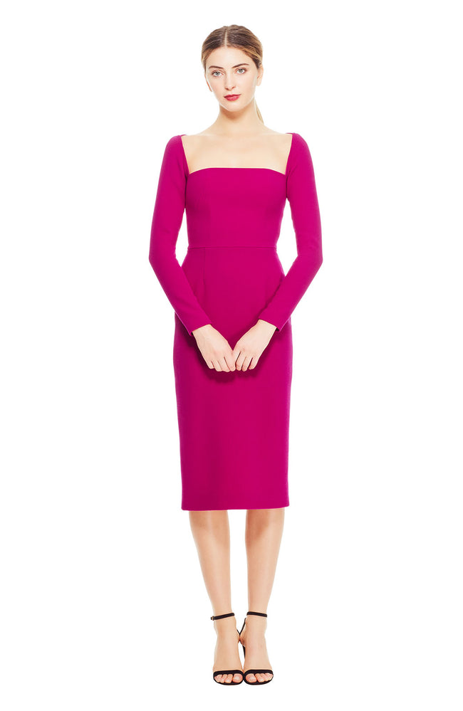 Wool Crepe Open Neck Fitted Sheath