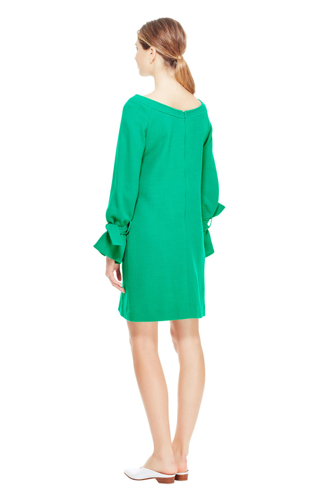 Wool Crepe Tie Sleeve Tunic Dress