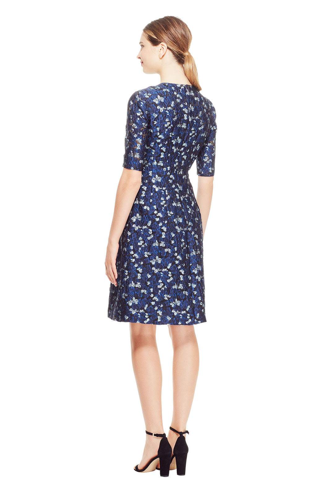Petite Floral Fil Coupé Holly Elbow Sleeve Dress