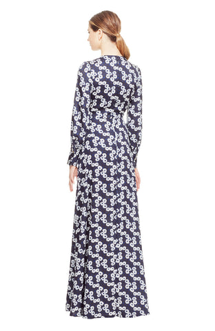 Printed Petite Floral V-Neck Draped Gown