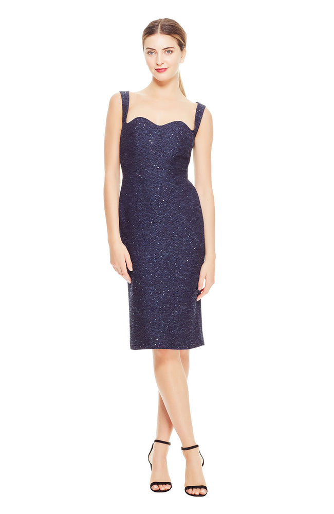 Sequin Embroidered Tweed Wave Front Sheath