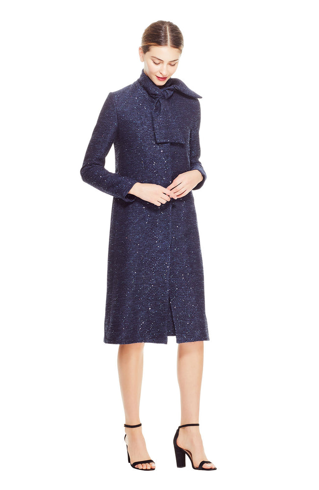 Sequin Embroidered Tweed Tie Neck Coat