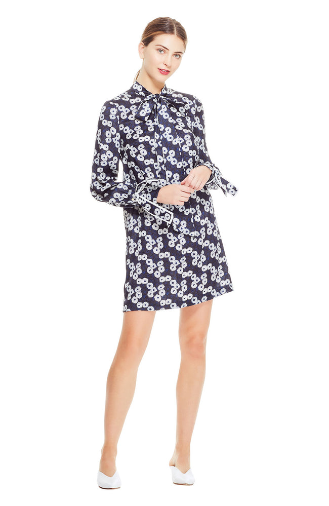 Printed Petite Floral Tie Neck Tunic Dress