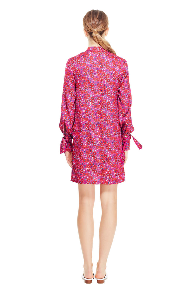 Printed Petite Floral Crêpe Tie Neck Tunic Dress