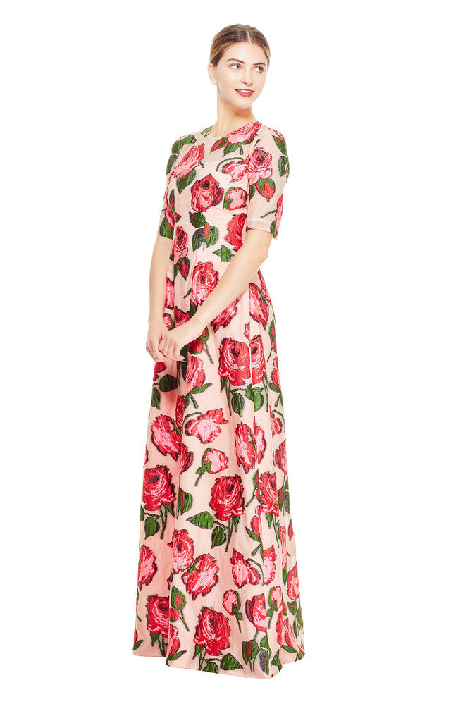 Rose Fil Coupé Holly Elbow Sleeve Gown
