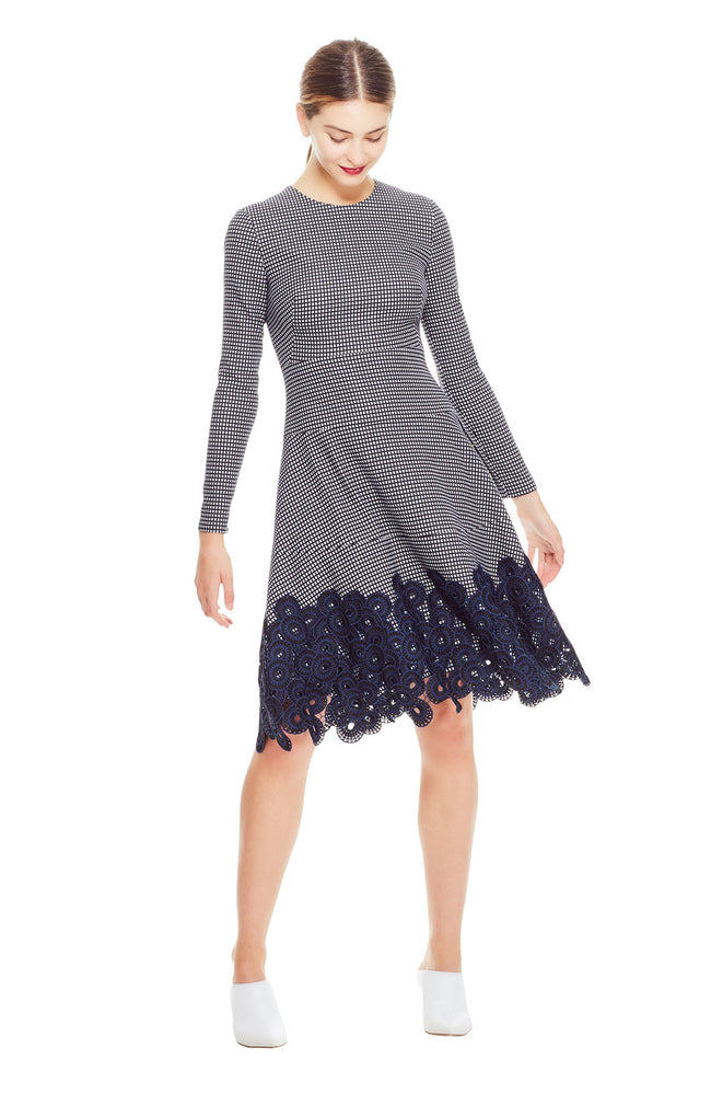 Stretch Check Jaquard Tiered Dress with Lace Hem