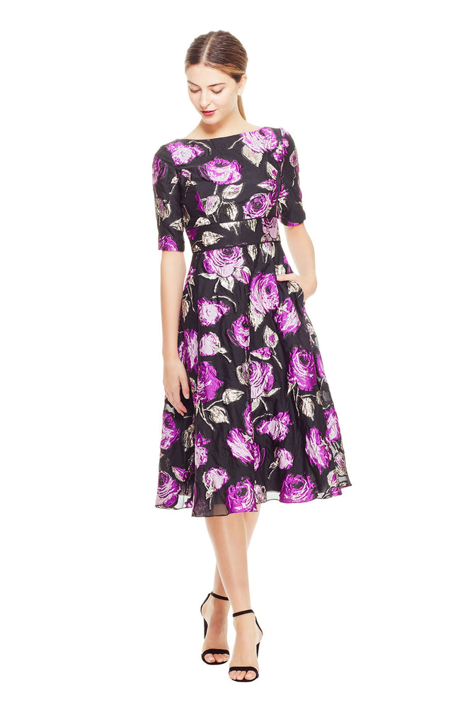 Rose Fil Coupe Elbow Sleeve Full Skirt Dress