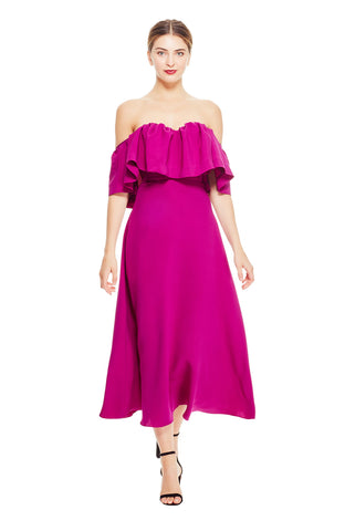 Silk Crepe Off the Shoulder Ruffle Dress