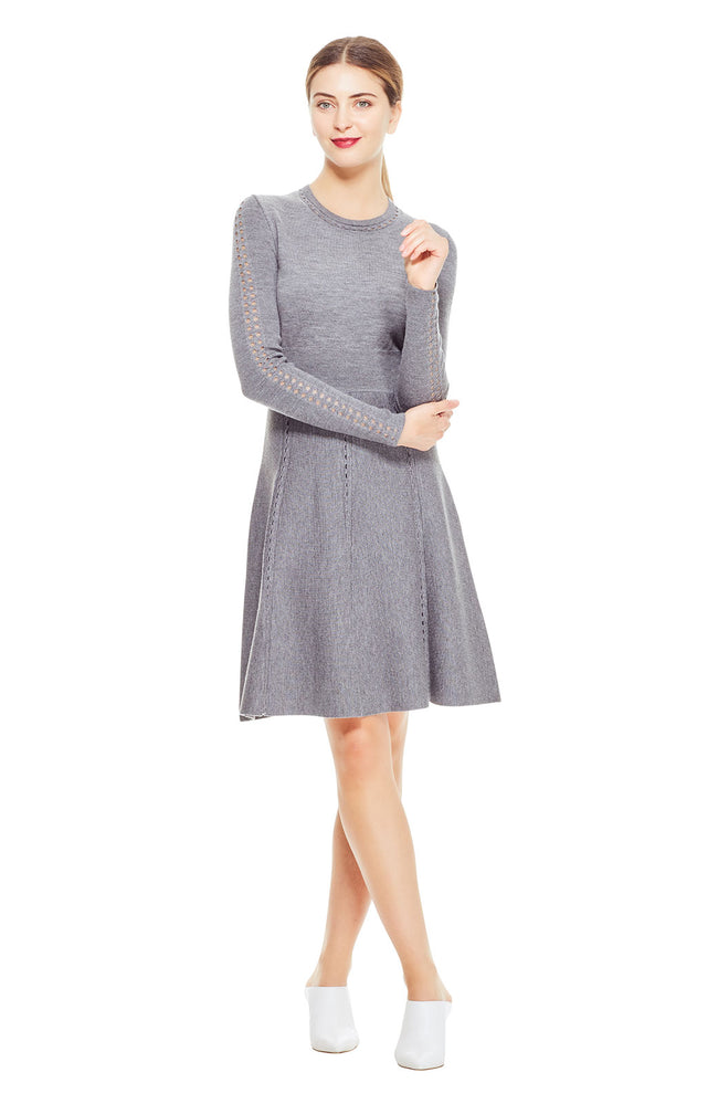 Shell Stitch Full Skirt Knit Dress