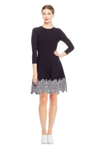 Crochet Lace Hem Knit Dress