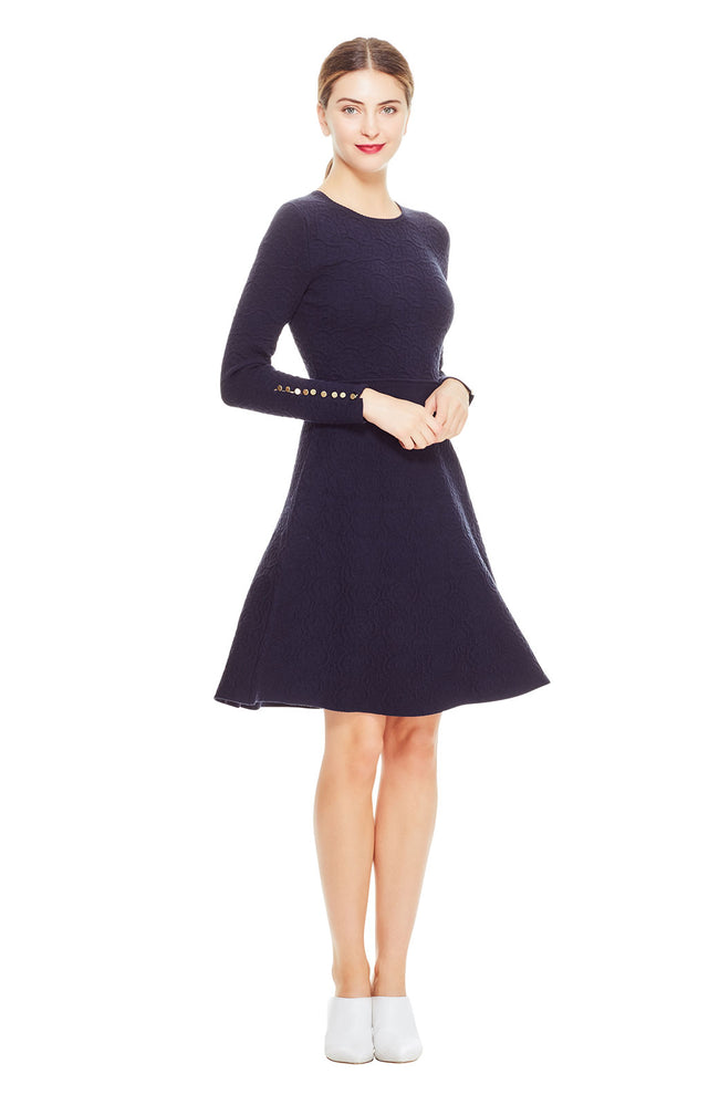 Textured Jacquard Full Skirt Knit Dress