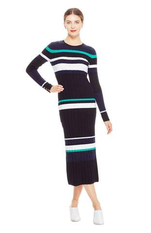 Striped Long Sleeve Knit Dress