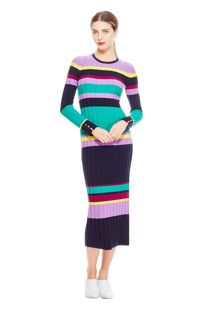 Striped Knit Long Sleeve Knit Dress
