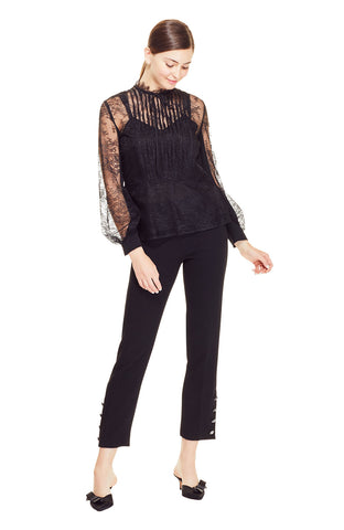 Chantilly Lace High Neck Pleated Yoke Blouse