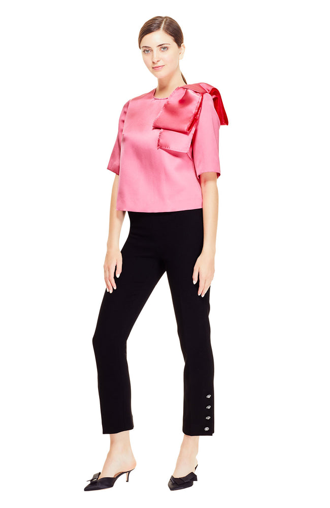 Duchess Satin Bow Detail Tunic Blouse