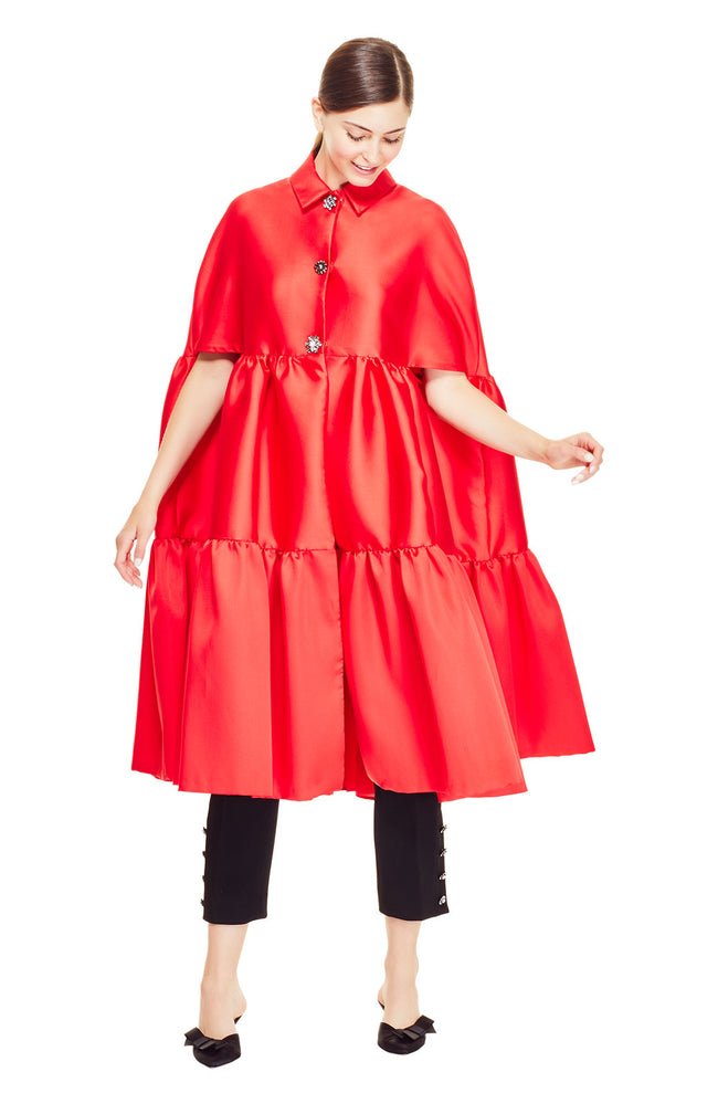 Duchess Satin Flounce Hem Cape