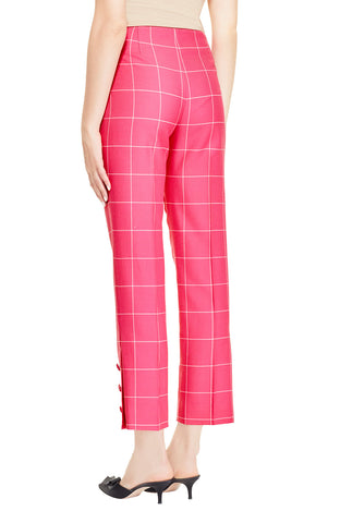 Stretch Plaid Button Placket Pant