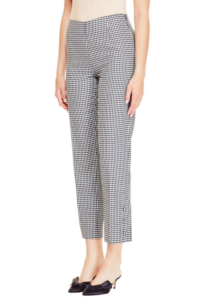 Stretch Wool Gingham Button Placket Pant