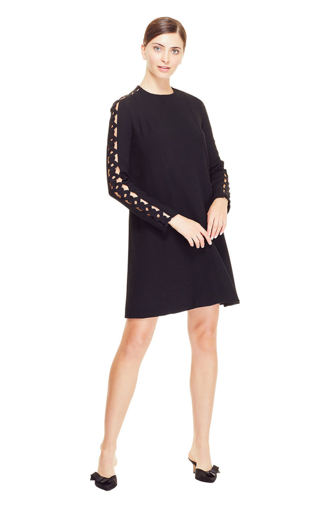 Wool Crepe Wave Trim Inset Tunic Dress