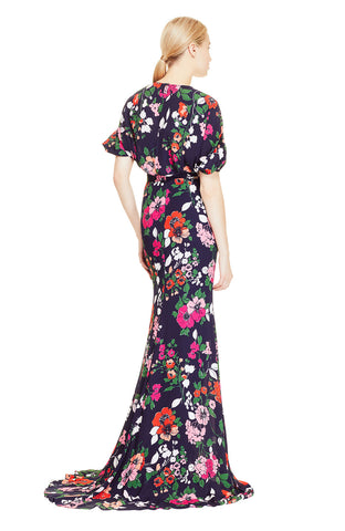Floral Printed Georgette V-Neck Gown