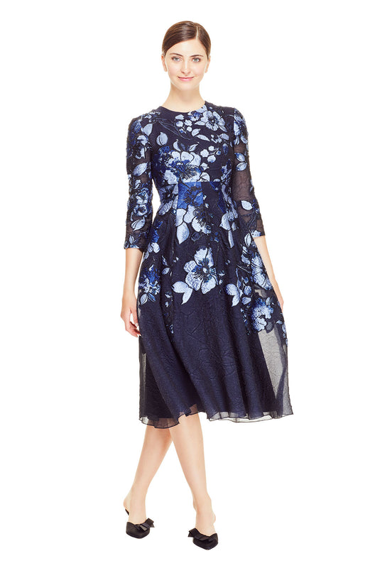 Degrade Floral Fil Coupe Full Skirt Dress