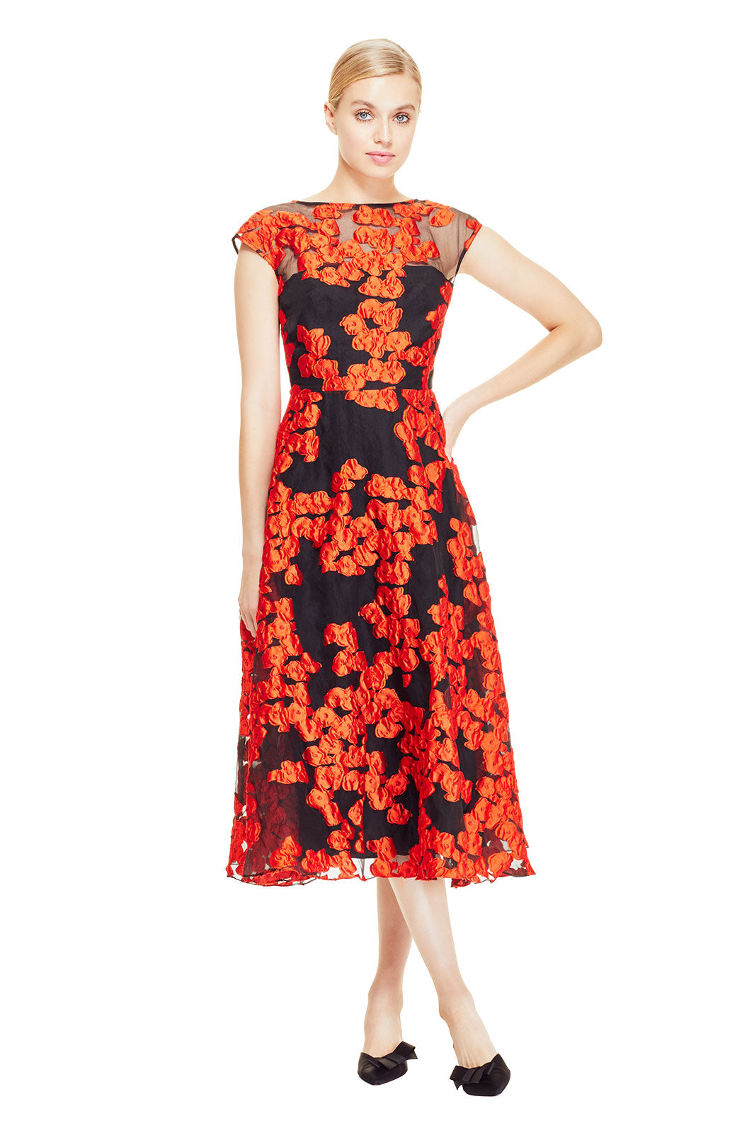 Dotted Floral Fil Coupe Boatneck Full Skirt Dress