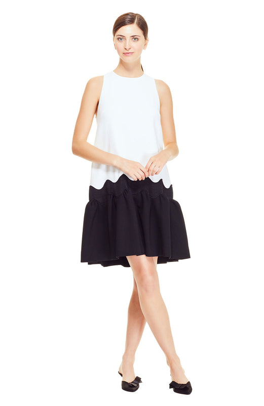 Wool Crepe Flounce Hem Dress