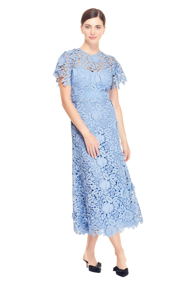 Floral Guipure Lace Flutter Sleeve Dress
