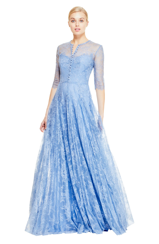 Chantilly Lace Long Sleeve Pleated Gown