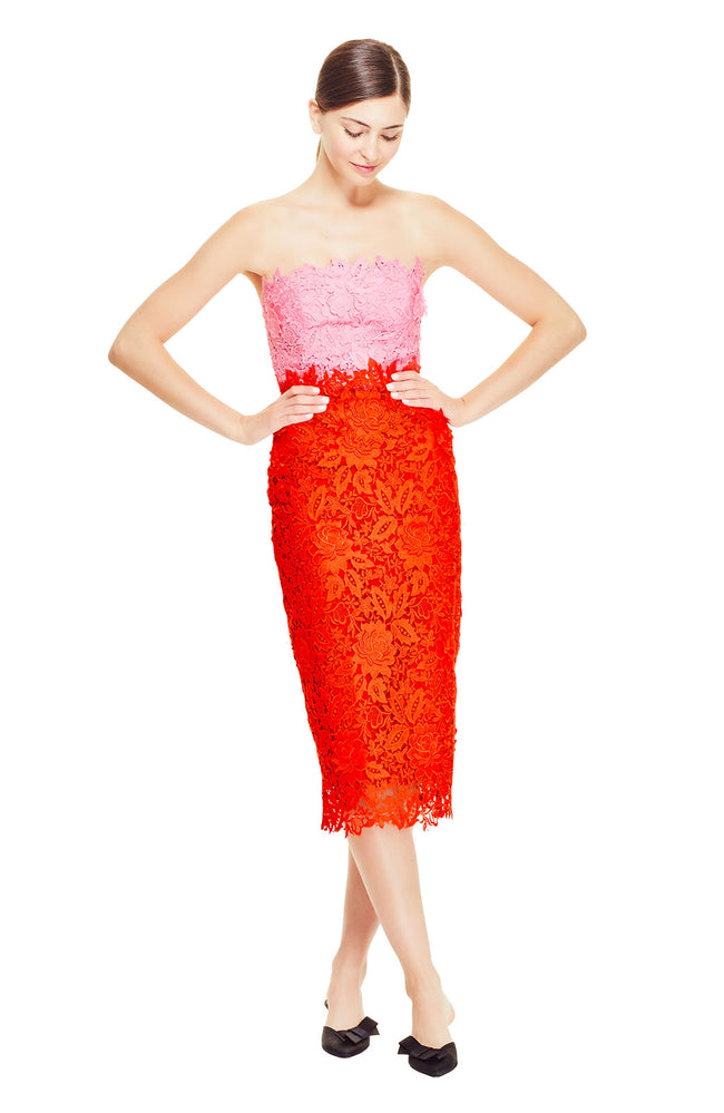 Floral Guipure Lace Strapless Fitted Sheath