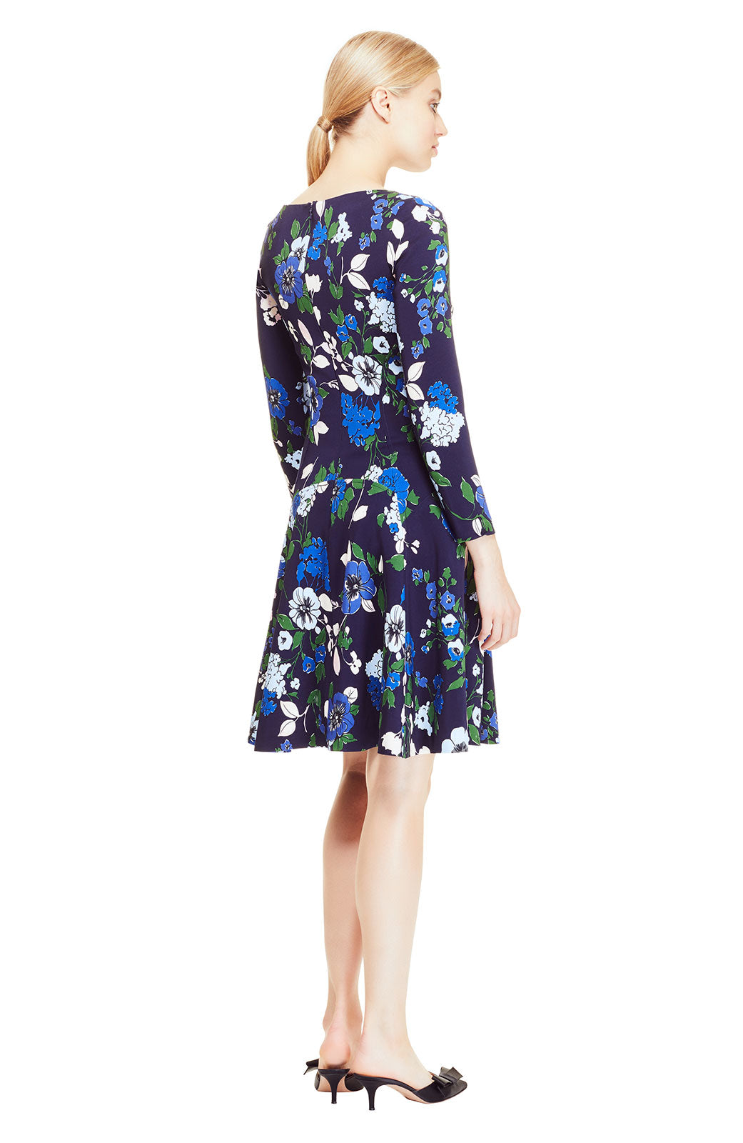 Floral Printed Crepe Long Sleeve Seamed Dress