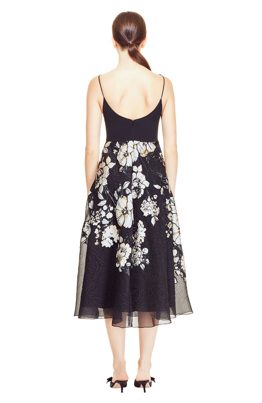 Degrade Floral Fil Coupe Boatneck Full Skirt Dress