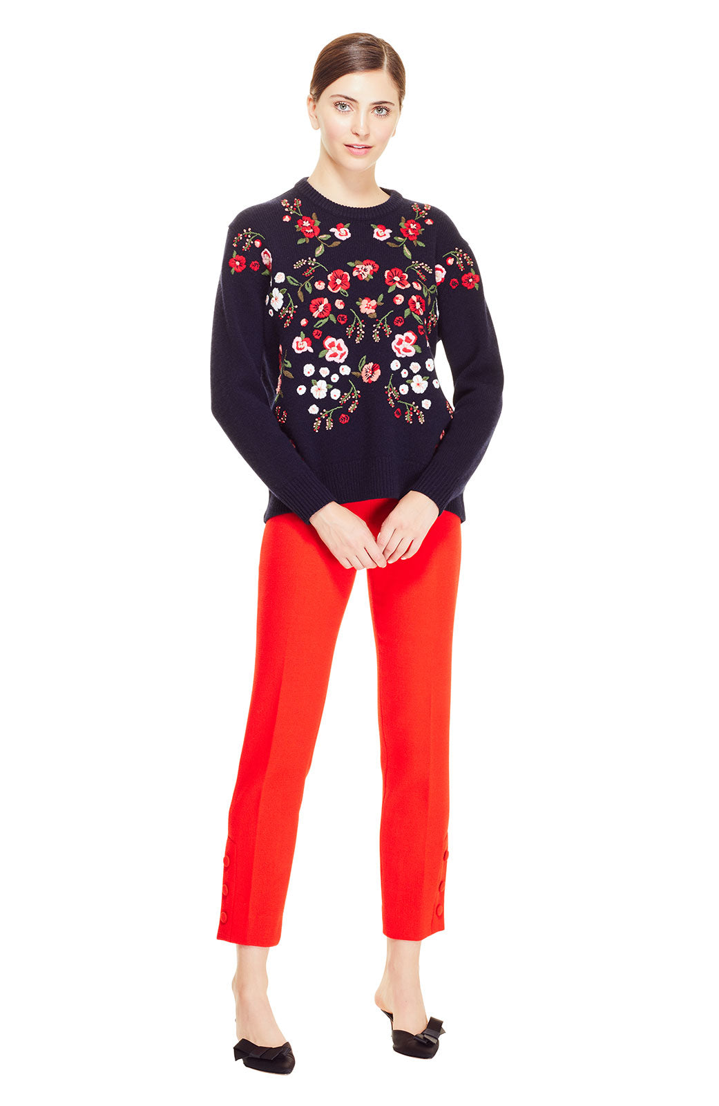 Floral Embroidered Crewneck Knit