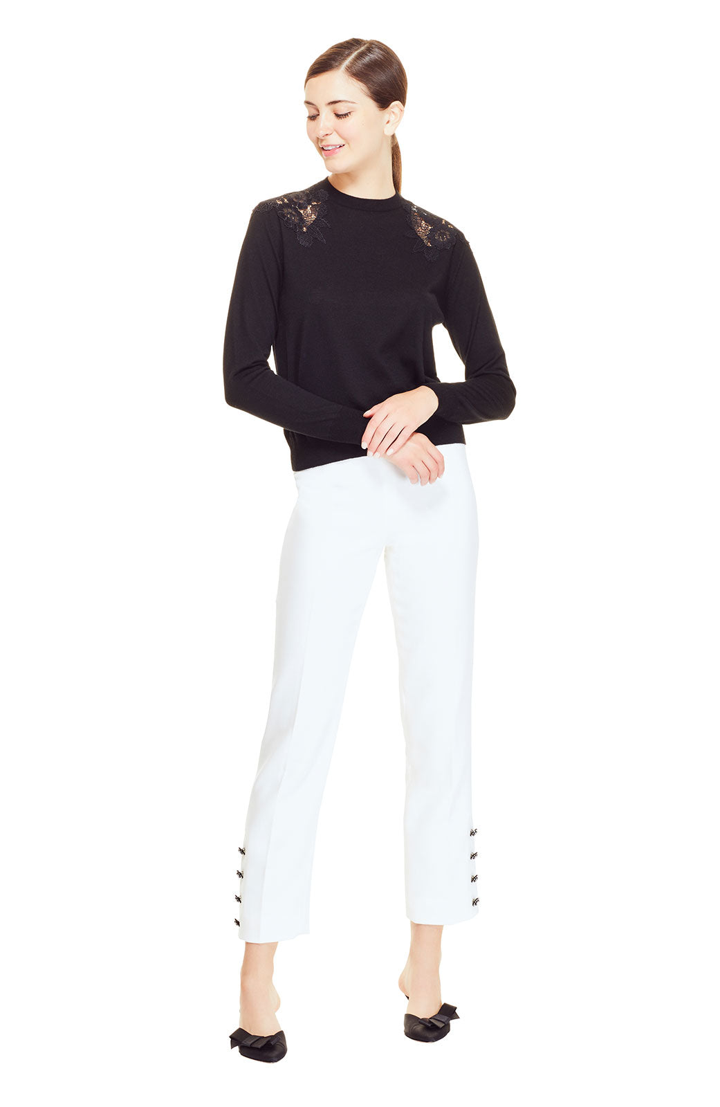 Wool Crepe Crystal Button Placket Pant