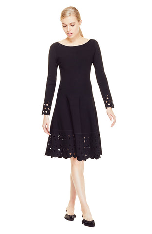 Laser Cut Detail Knit Dress